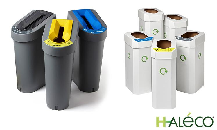 Contenedores de reciclaje post consumo de plástico y cartón | Gestión de residuos | Haleco