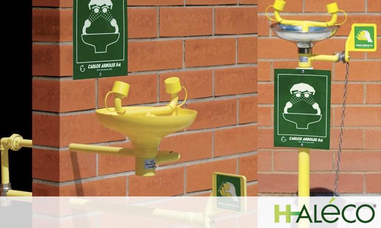 Lavaojos fijos de seguridad | Lavaojos de pared | Lavaojos de pie | Haleco