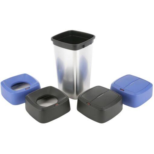 Papelera plástico cuadrada 60L, aspecto inox 39 cm x 39 cm x 73 cm 1