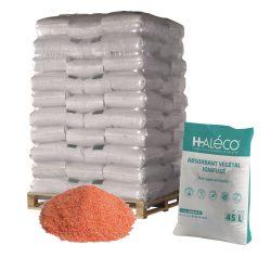 Absorbente en polvo vegetal ignifugado. Palet de 70 sacos de 45L. Económico y fácil de barrer.