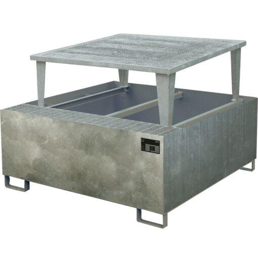 Cubeta de retención de acero galvanizado 1 GRG/IBC, 1000 litros 133 cm x 165 cm x 115 cm 1
