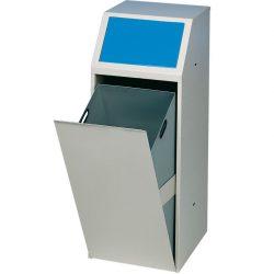 Papelera metálica color Gris, trampilla basculante en color Azul para recogida selectiva 69 L, 40 cm x 40 cm x 100 cm