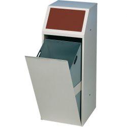 Papelera metálica color Gris, trampilla basculante en color Marrón para recogida selectiva 69 L,  40 cm x 40 cm x 100 cm
