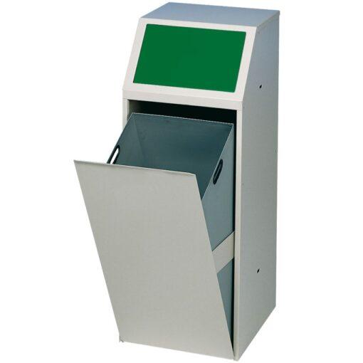 Papelera metálica color Gris, trampilla basculante en color verde para recogida selectiva 69 L, 40 cm x 40 cm x 100 cm 1