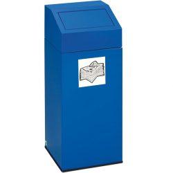 Papelera metálica color Azul con tapa extraíble para recogida selectiva 76 L, 38 cm x 38 cm x 89 cm