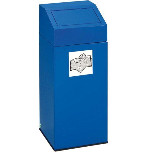 Papelera metálica color Azul con tapa extraíble para recogida selectiva 76 L, 38 cm x 38 cm x 89 cm 1
