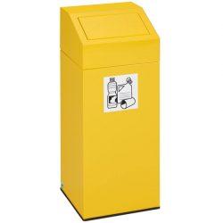 Papelera metálica color Amarillo con tapa extraíble para recogida selectiva 76 L, 38 cm x 38 cm x 89 cm