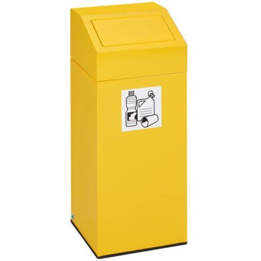 Papelera metálica color Amarillo con tapa extraíble para recogida selectiva 76 L, 38 cm x 38 cm x 89 cm 1