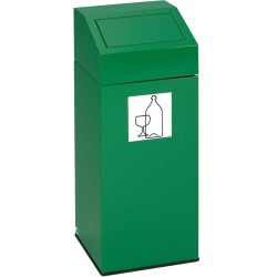 Papelera metálica color Verde con tapa extraíble para recogida selectiva 76 L, 38 cm x 38 cm x 89 cm