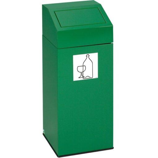 Papelera metálica color Verde con tapa extraíble para recogida selectiva 76 L, 38 cm x 38 cm x 89 cm 1