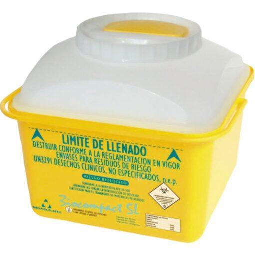 10 recipientes  de plástico para desechos biológicos-infecciosos 5 L 1