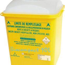 10 recipientes  de plástico para desechos biológicos-infecciosos 10 L