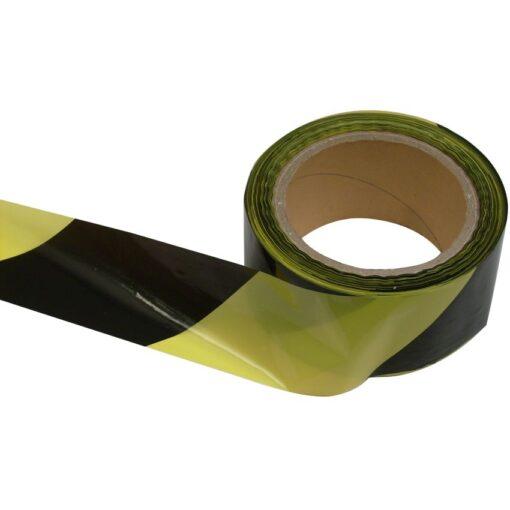 Banda de señalización negra y amarilla 100m