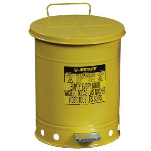 Papelera metal para residuos oleosos y disolventes 23 litros 1