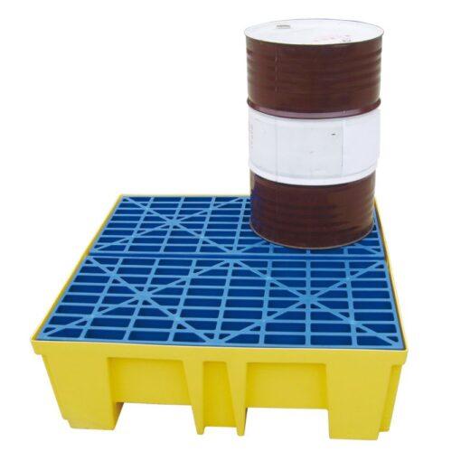 Cubeta de retención de polietileno 4 bidones, 510 litros 132 cm x 132 cm x 43 cm 1