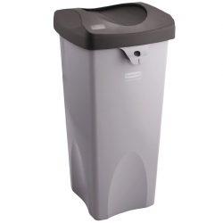 Untouchables® Papelera cuadrada de plástico color Gris 87 litros,  39 cm x 42 cm x 78,5 cm