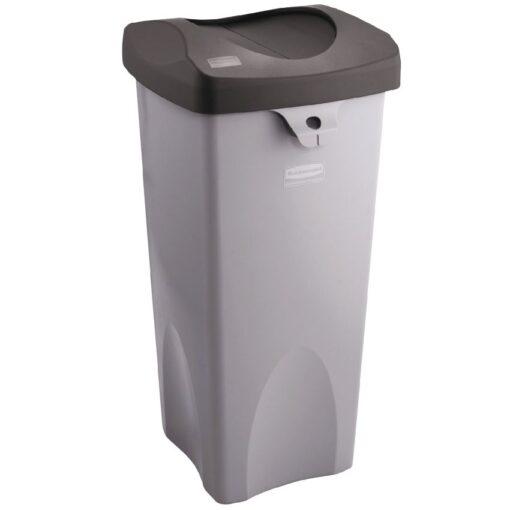 Untouchables® Papelera cuadrada de plástico color Gris 87 litros,  39 cm x 42 cm x 78,5 cm 1