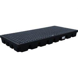 Plataforma de retención PE 2 bidones para cargas pesadas, 120 litros  160 cm x 80 cm x 15 cm