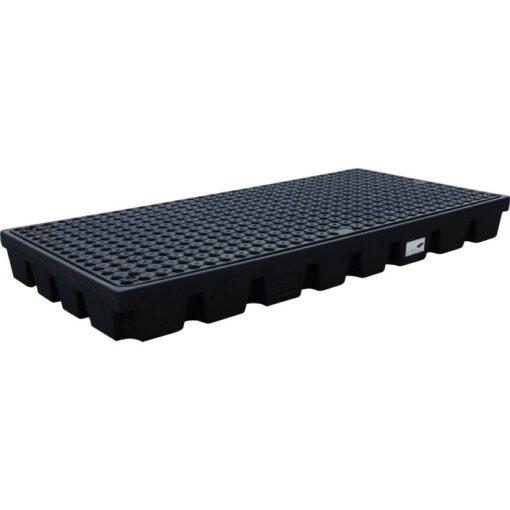 Plataforma de retención PE 2 bidones para cargas pesadas, 120 litros  160 cm x 80 cm x 15 cm 1