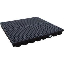 Plataforma de retención PE 2 bidones para cargas pesadas, 240 litros 160 cm x 160 cm x 15 cm