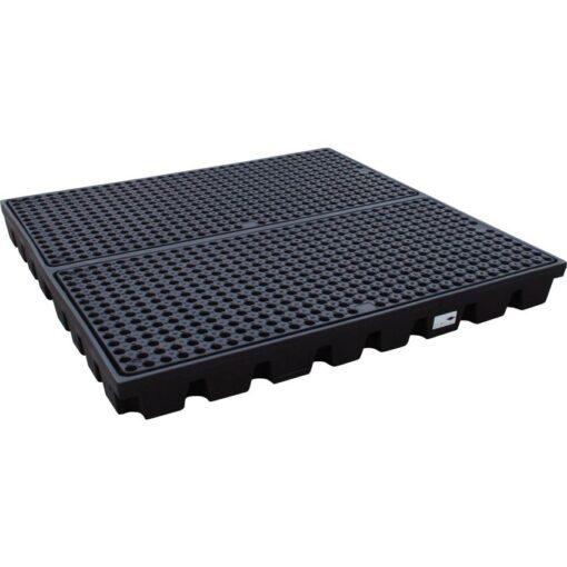 Plataforma de retención PE 2 bidones para cargas pesadas, 240 litros 160 cm x 160 cm x 15 cm 1