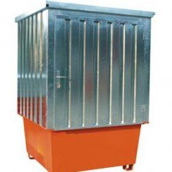 Contenedor de acero galvanizado 1 cubitainer, 1000 litros 160 cm x 160 cm x 205 cm