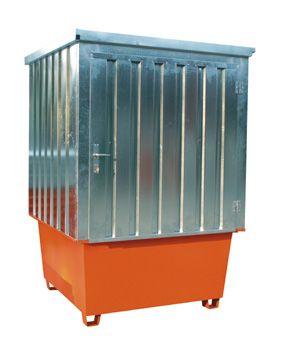 Contenedor de acero galvanizado 1 cubitainer, 1000 litros 160 cm x 160 cm x 205 cm 1