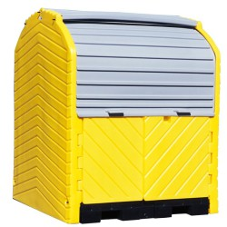 Contenedor exterior de polietileno 4 bidones, 280 litros 164 cm x 157,5 cm x 200 cm