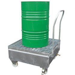 Carro de retención de acero 1 bidón, 220 litros