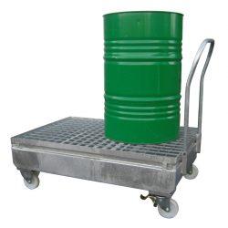 Carro de retención de acero 2 bidones, 220 litros