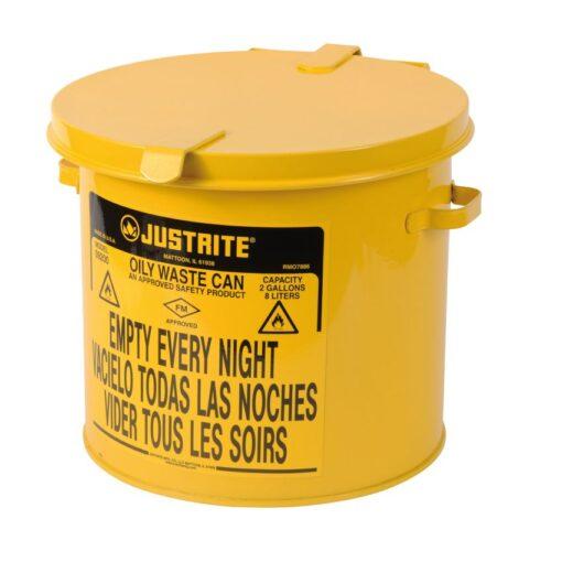 Papelera metal para residuos oleosos y disolventes 8 litros 1