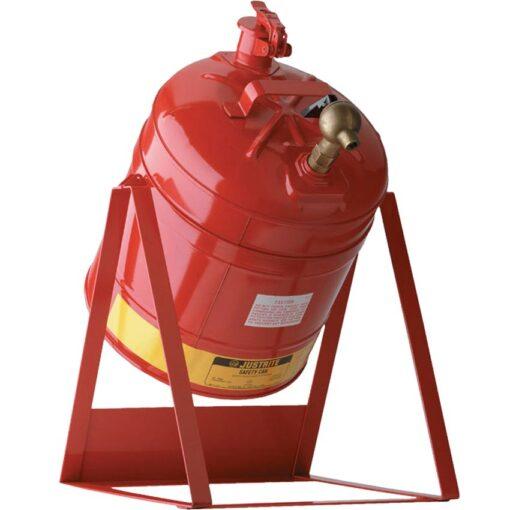 Bidón de seguridad con soporte basculante y grifo para productos inflamables 1