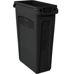 SLIM JIM Papelera de plástico color Negro con bocas de ventilación para recogida selectiva 87 L, 28 cm x 56 cm x 76 cm