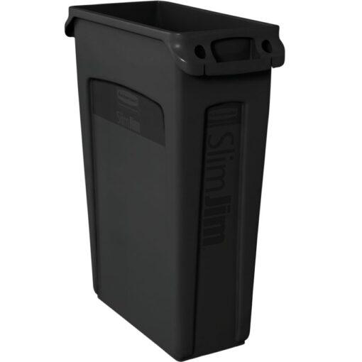 SLIM JIM Papelera de plástico color Negro con bocas de ventilación para recogida selectiva 87 L, 28 cm x 56 cm x 76 cm 1