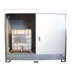 Contenedor en acero galvanizado 2 contenedores revestido PE, 1100 L 295,8 cm x 146,6 cm x 248,7 cm