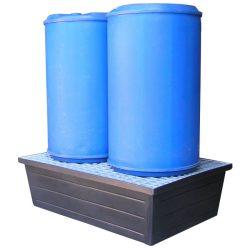 Cubeta de retención polietileno con fondo llano 2 bidones, 240 litros  122,2 cm x 81,5 cm x 35 cm