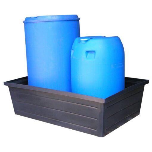 Cubeta de retención polietileno con fondo llano 2 bidones, 240 litros 122,2 cm x 81,5 cm x 35 cm 1