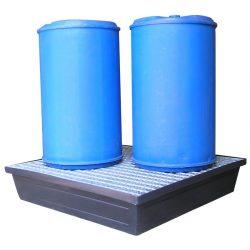 Cubeta de retención polietileno con fondo llano 4 bidones, 240 litros 122,2 cm x 122,2 cm x 24,5 cm
