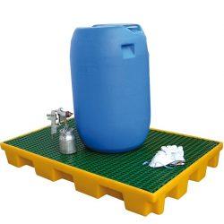 Plataforma de retención de polietileno 2 bidones, 120 litros 127 cm x 82,5 cm x 15 cm