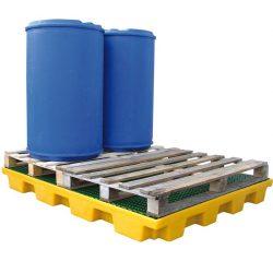 Plataforma de retención de polietileno 4 bidones, 240 litros 161 cm x 127 cm x 15 cm