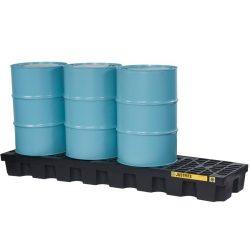Cubeta de retención en polietileno económica para 4 bidones, 284 lts 246,4 cm x 63,5 cm x 22,9 cm