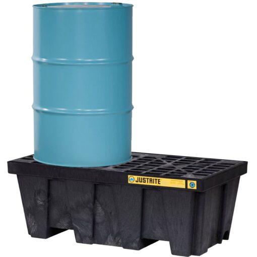 Cubeta de retención en polietileno económica para 2 bidones, 250 lts 124,5 cm x 63,5 cm x 45,7 cm 1