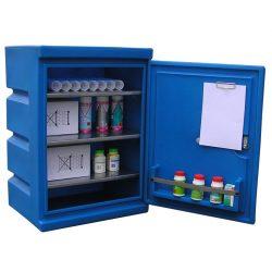 Armario de seguridad mural en polietileno para productos corrosivos, 60 litros 60 cm x 47 cm x 85 cm