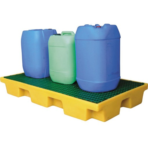 Plataforma de retención de polietileno 2 bidones, 80 litros 122 cm x 66 cm x 15 cm 1