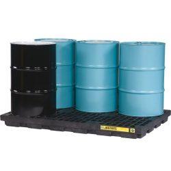 Plataforma de retención polietileno fabricación ecológica 6 bidones, 276 L