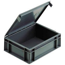 Cubeta apilable con tapa integrada, 10 L,  40 cm x 30 cm x 12,9 cm
