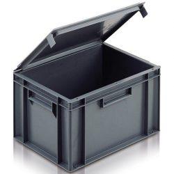 Cubeta apilable con tapa integrada 20 L, 40 cm x 30 cm x 24,6 cm
