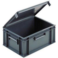 Cubeta apilable con tapa integrada, 15 L,  40 cm x 30 cm x 18,6 cm