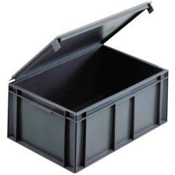 Cubeta apilable con tapa integrada 45 L, 60 cm x 40 cm x 24,6 cm
