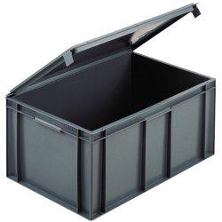 Cubeta apilable con tapa integrada 54 L, 60 cm x 40 cm x 29,1 cm